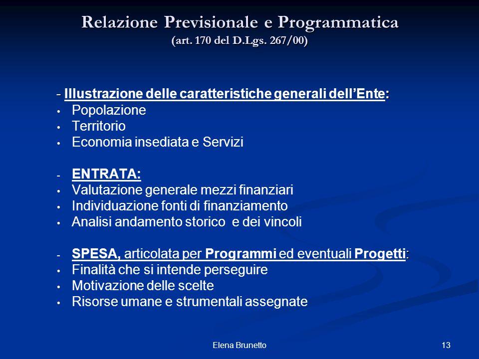 Relazione Previsionale e Programmatica (art. 170 del D.Lgs. 267/00)