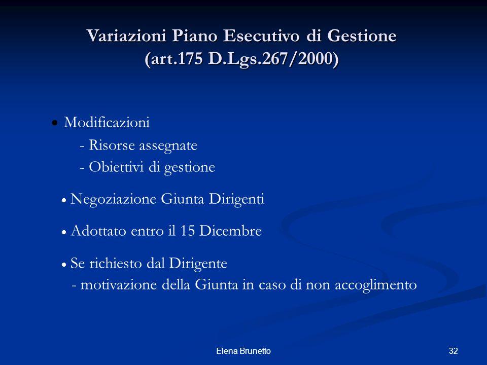 Variazioni Piano Esecutivo di Gestione (art.175 D.Lgs.267/2000)