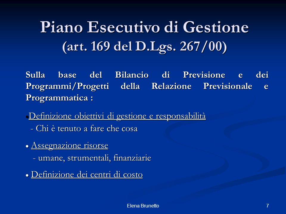 Piano Esecutivo di Gestione (art. 169 del D.Lgs. 267/00)