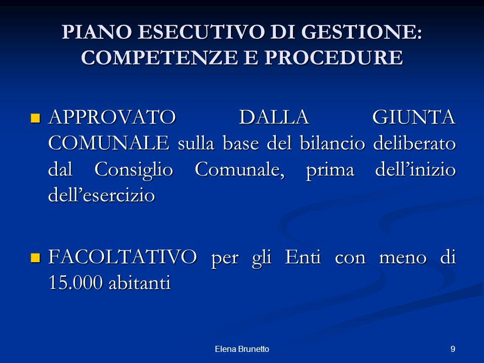 PIANO ESECUTIVO DI GESTIONE: COMPETENZE E PROCEDURE