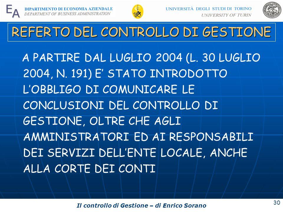 REFERTO DEL CONTROLLO DI GESTIONE