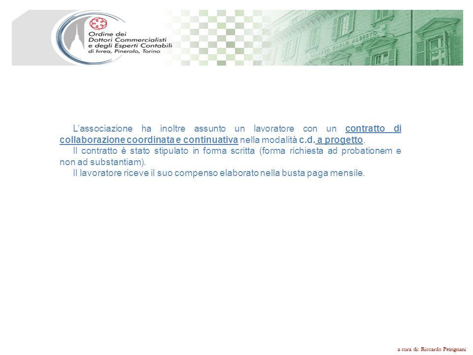 L'associazione ha inoltre assunto un lavoratore con un contratto di collaborazione coordinata e continuativa nella modalità c.d. a progetto.