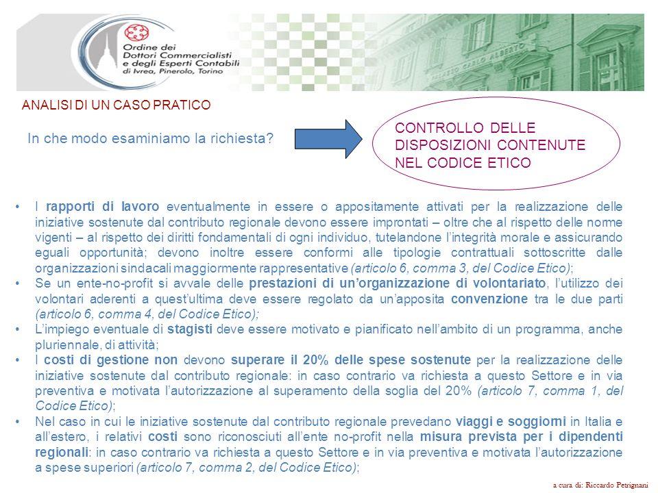 CONTROLLO DELLE DISPOSIZIONI CONTENUTE NEL CODICE ETICO