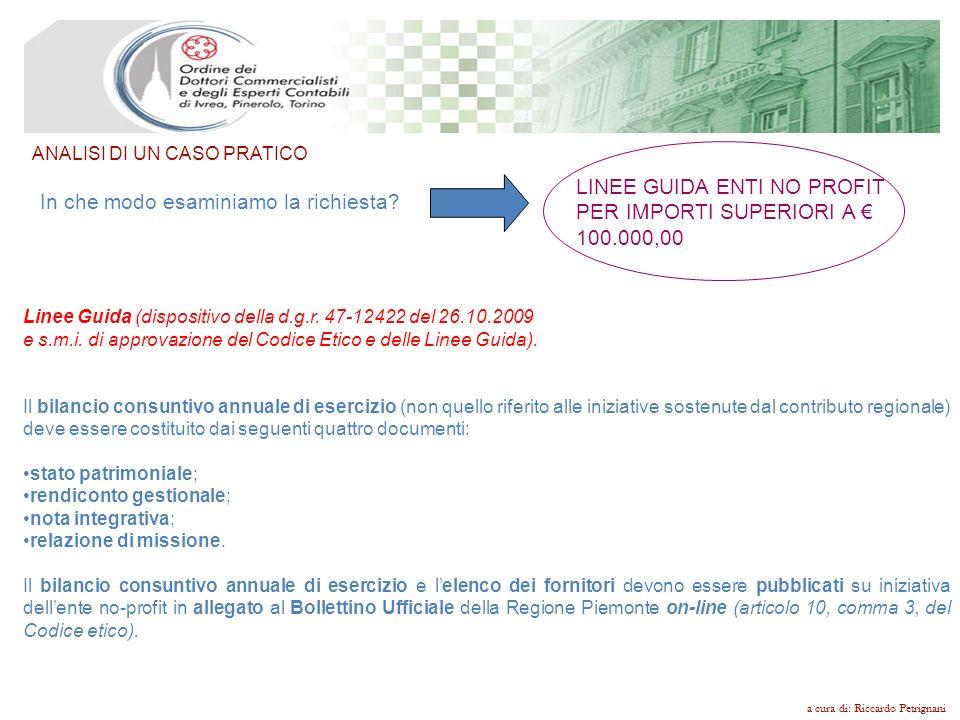 LINEE GUIDA ENTI NO PROFIT PER IMPORTI SUPERIORI A € 100.000,00