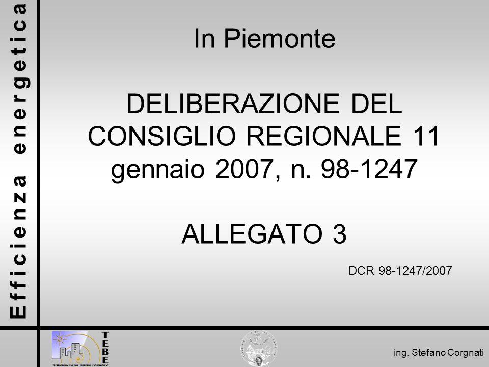 In Piemonte DELIBERAZIONE DEL CONSIGLIO REGIONALE 11 gennaio 2007, n
