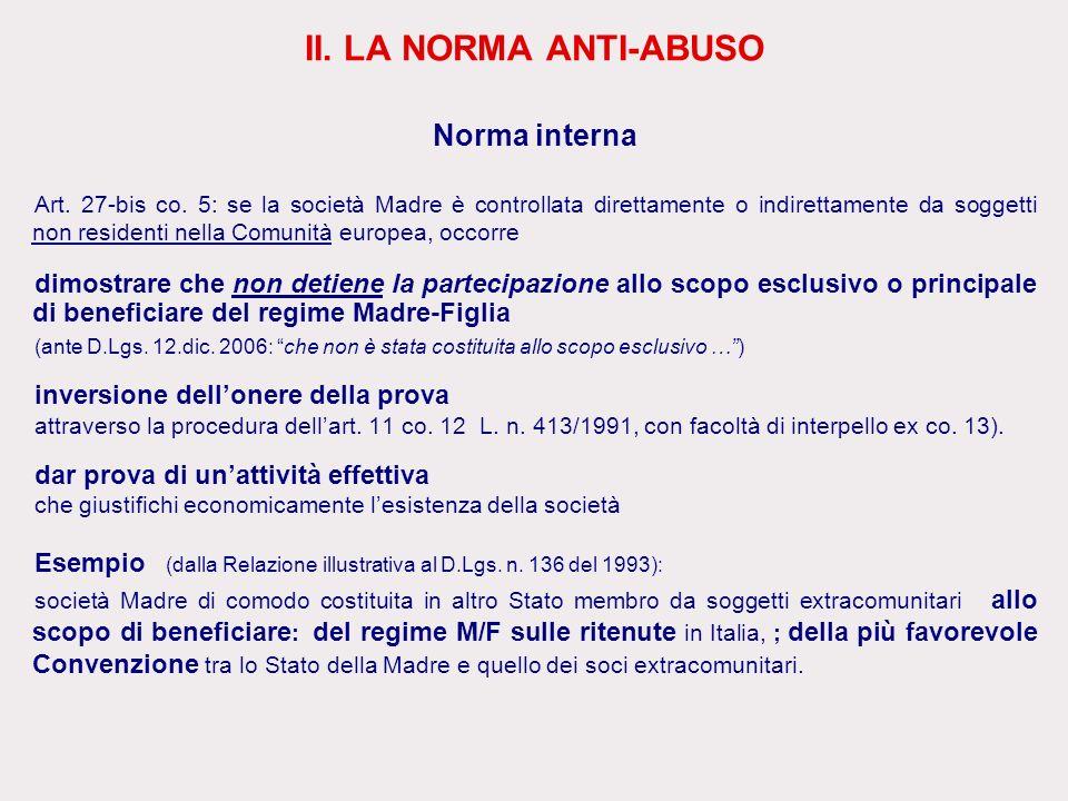 II. LA NORMA ANTI-ABUSO Norma interna