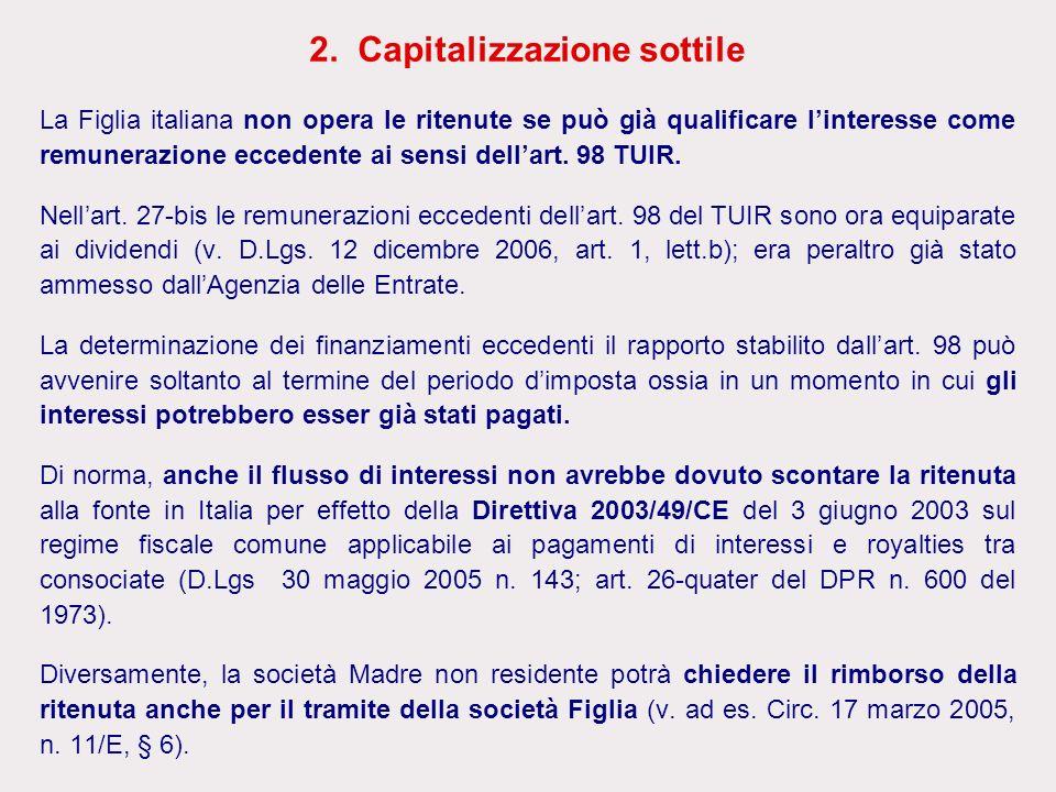 2. Capitalizzazione sottile