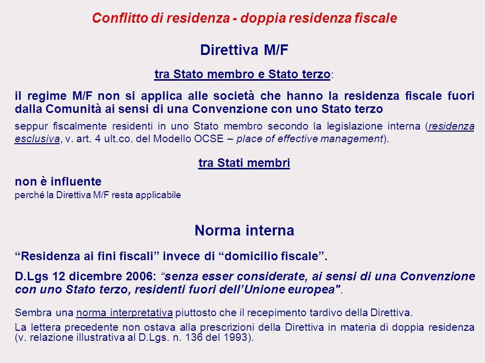 Conflitto di residenza - doppia residenza fiscale