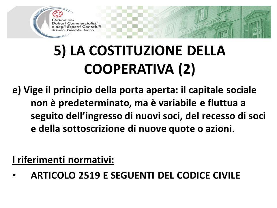 5) LA COSTITUZIONE DELLA COOPERATIVA (2)