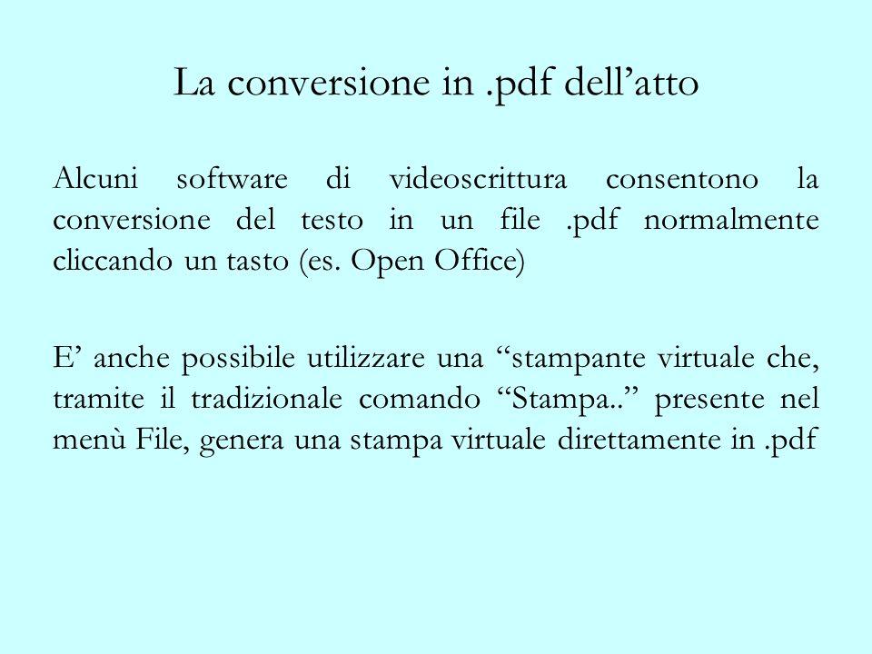 La conversione in .pdf dell'atto