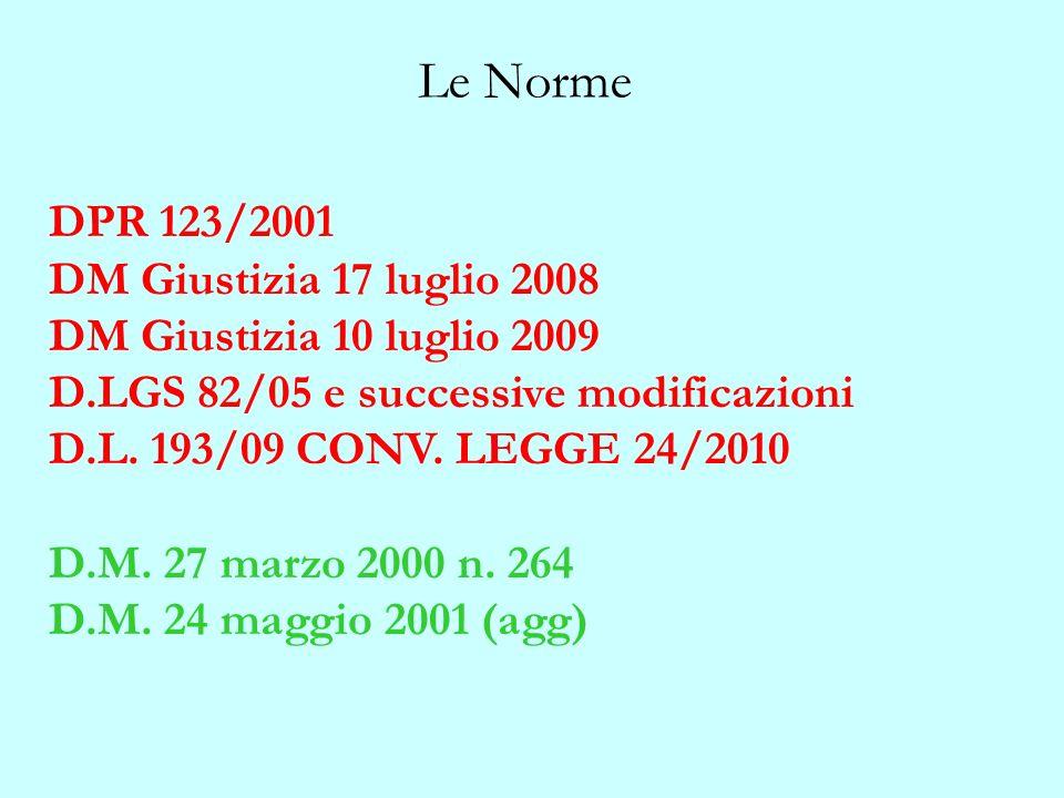Le Norme DPR 123/2001 DM Giustizia 17 luglio 2008