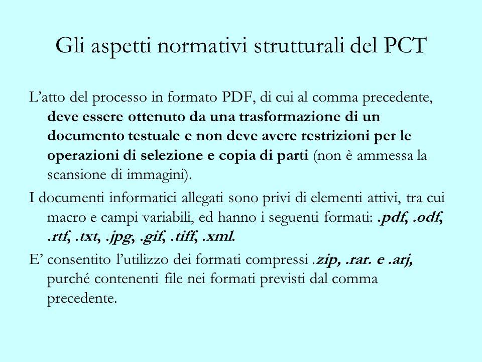 Gli aspetti normativi strutturali del PCT