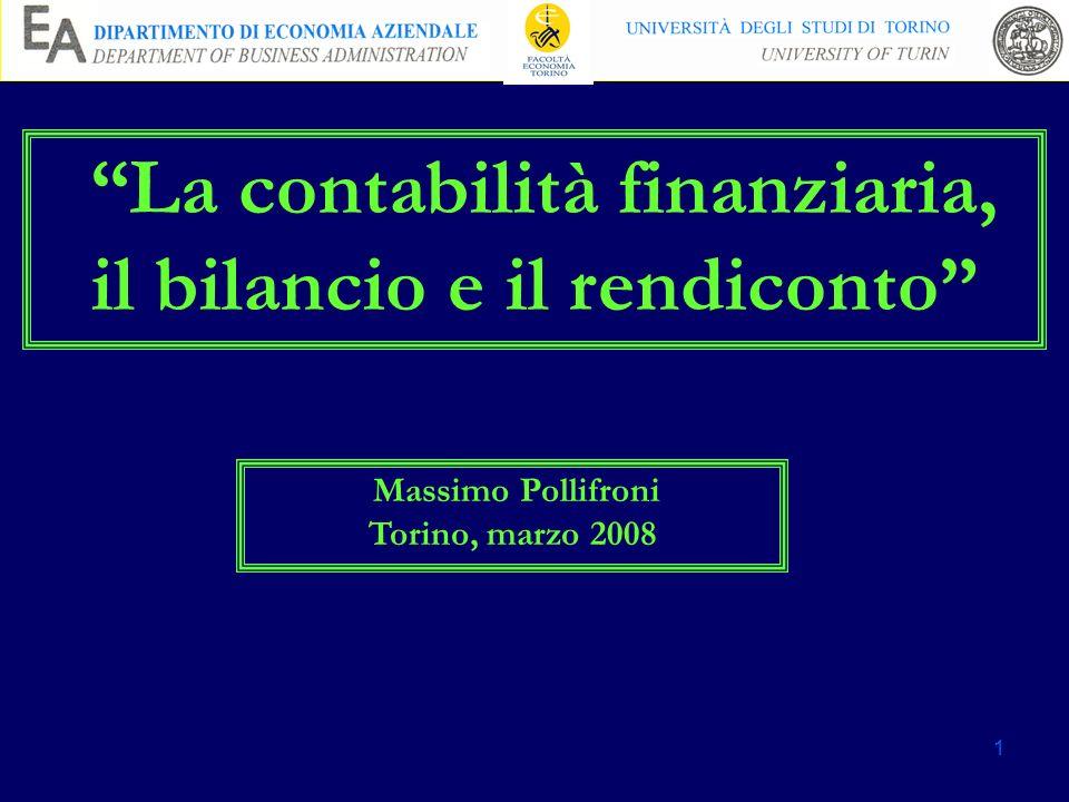 La contabilità finanziaria, il bilancio e il rendiconto