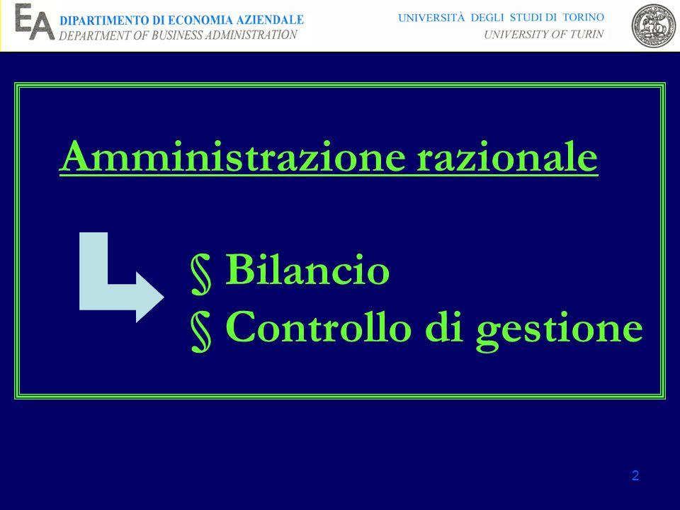 Amministrazione razionale § Bilancio § Controllo di gestione