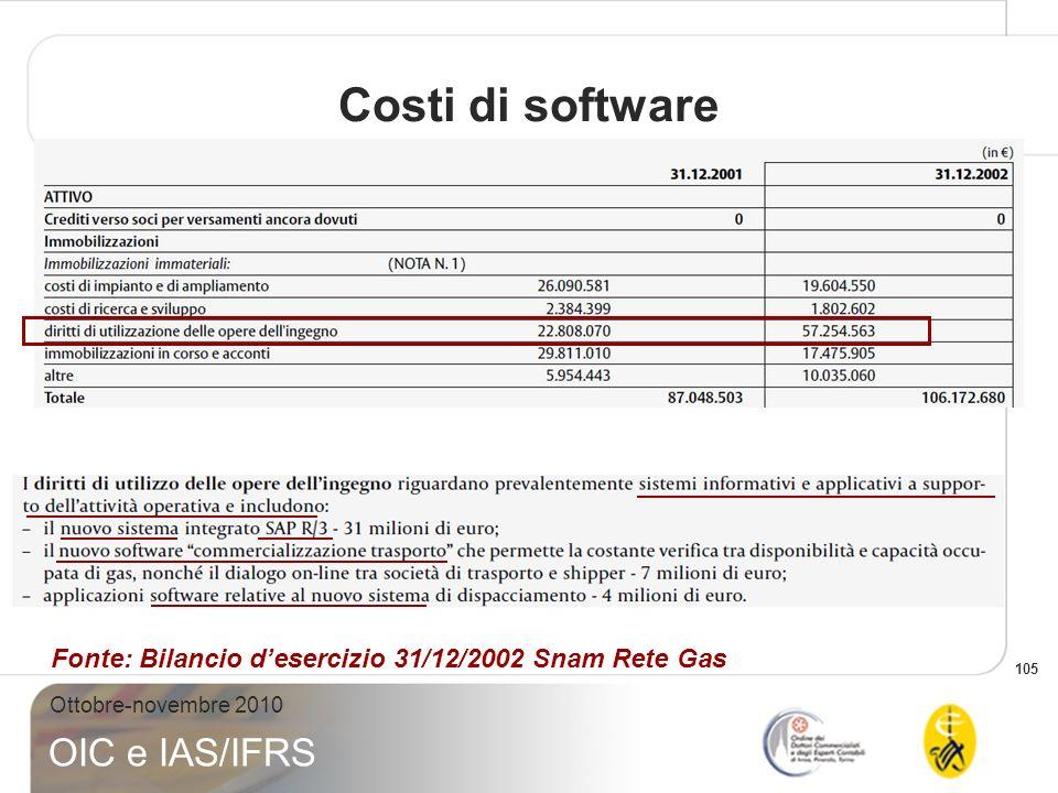 Costi di software Fonte: Bilancio d'esercizio 31/12/2002 Snam Rete Gas