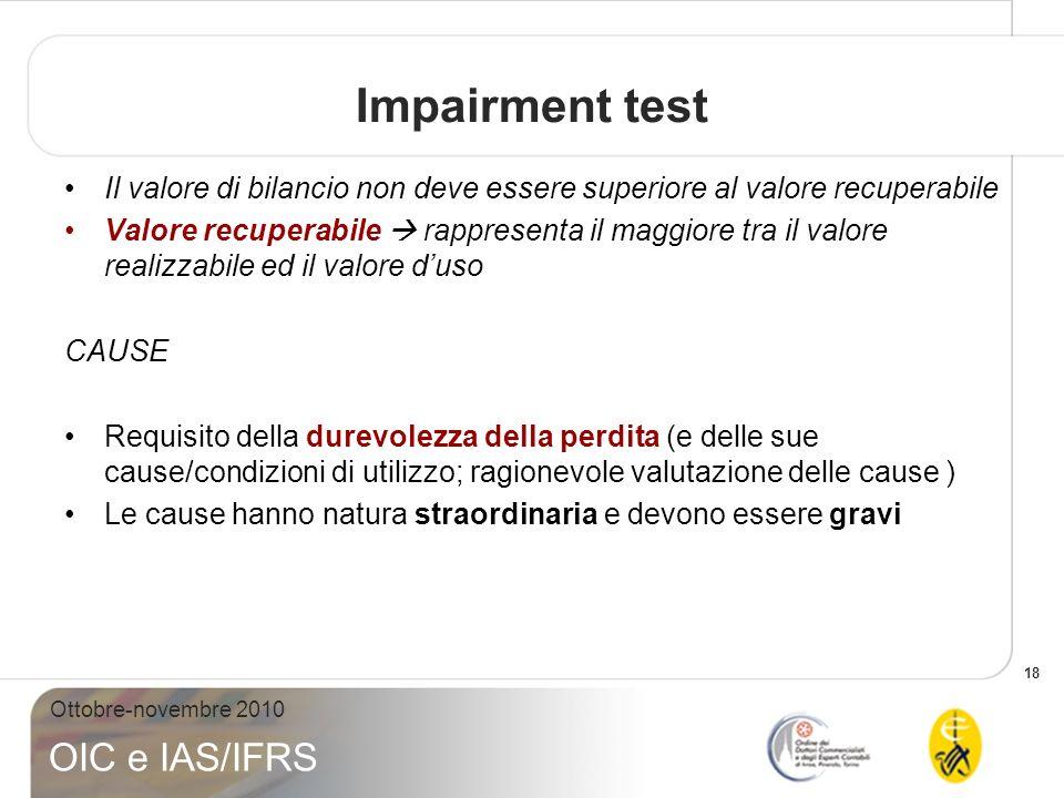 Impairment test Il valore di bilancio non deve essere superiore al valore recuperabile.