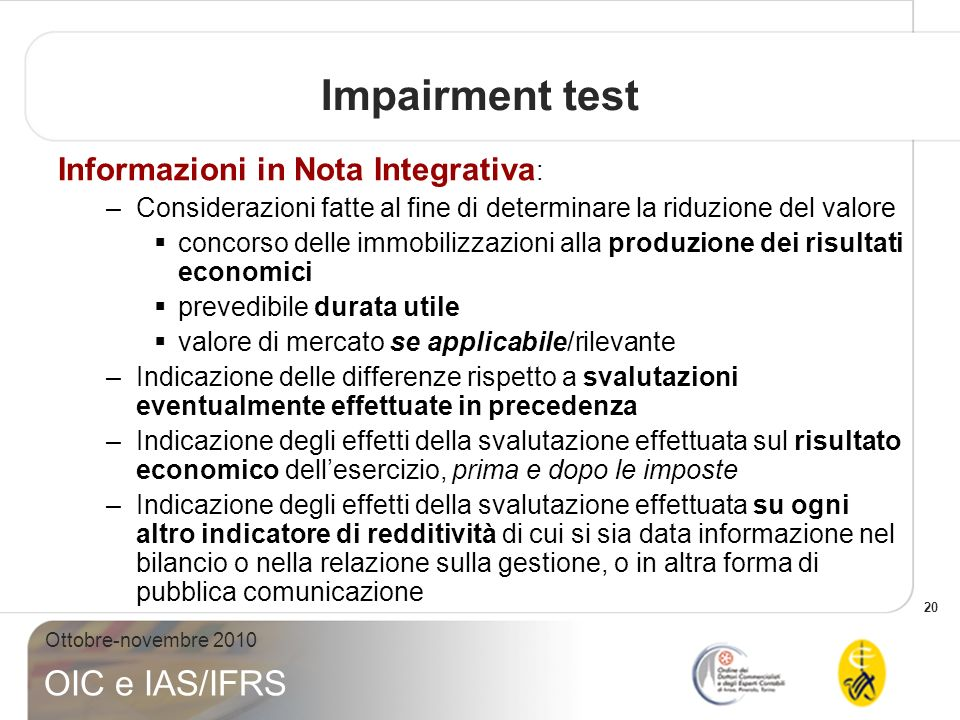 Impairment test Informazioni in Nota Integrativa: