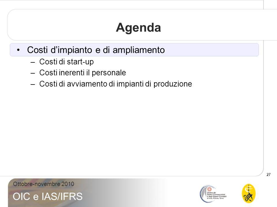 Agenda Costi d'impianto e di ampliamento Costi di start-up