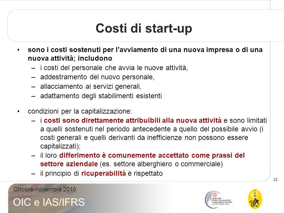 Costi di start-up sono i costi sostenuti per l avviamento di una nuova impresa o di una nuova attività; includono.