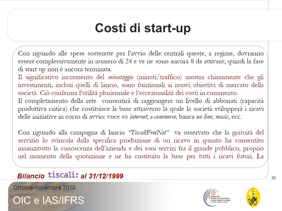 Costi di start-up Bilancio al 31/12/1999