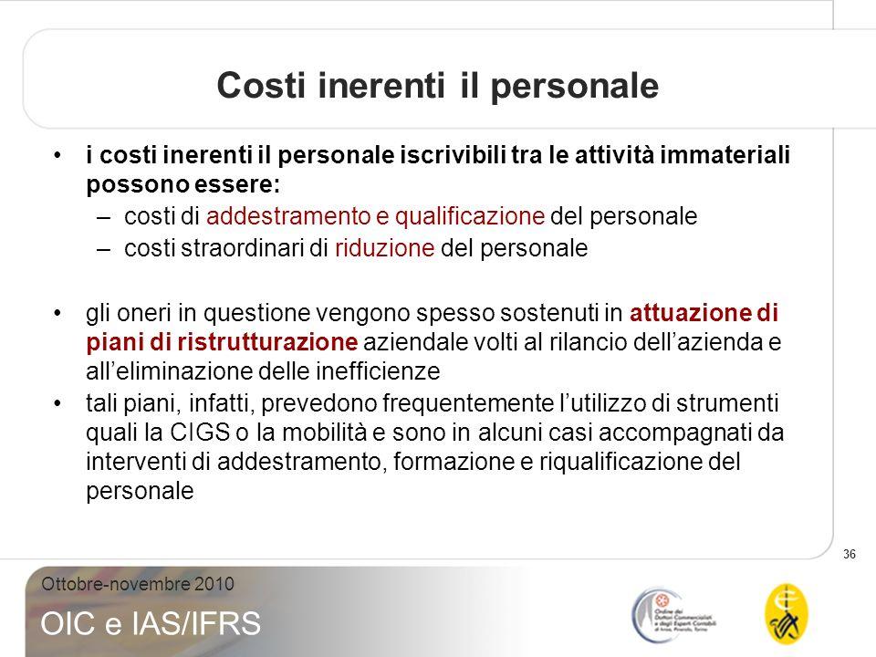 Costi inerenti il personale