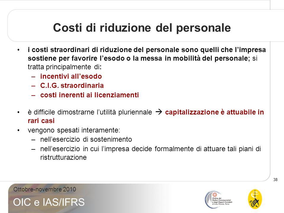 Costi di riduzione del personale
