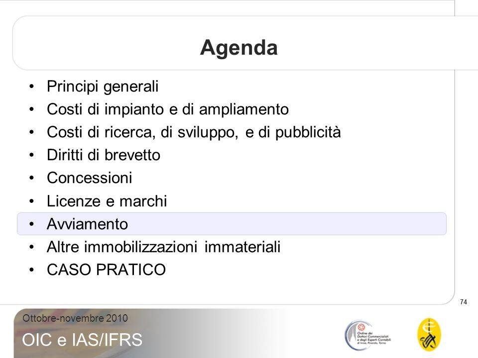 Agenda Principi generali Costi di impianto e di ampliamento