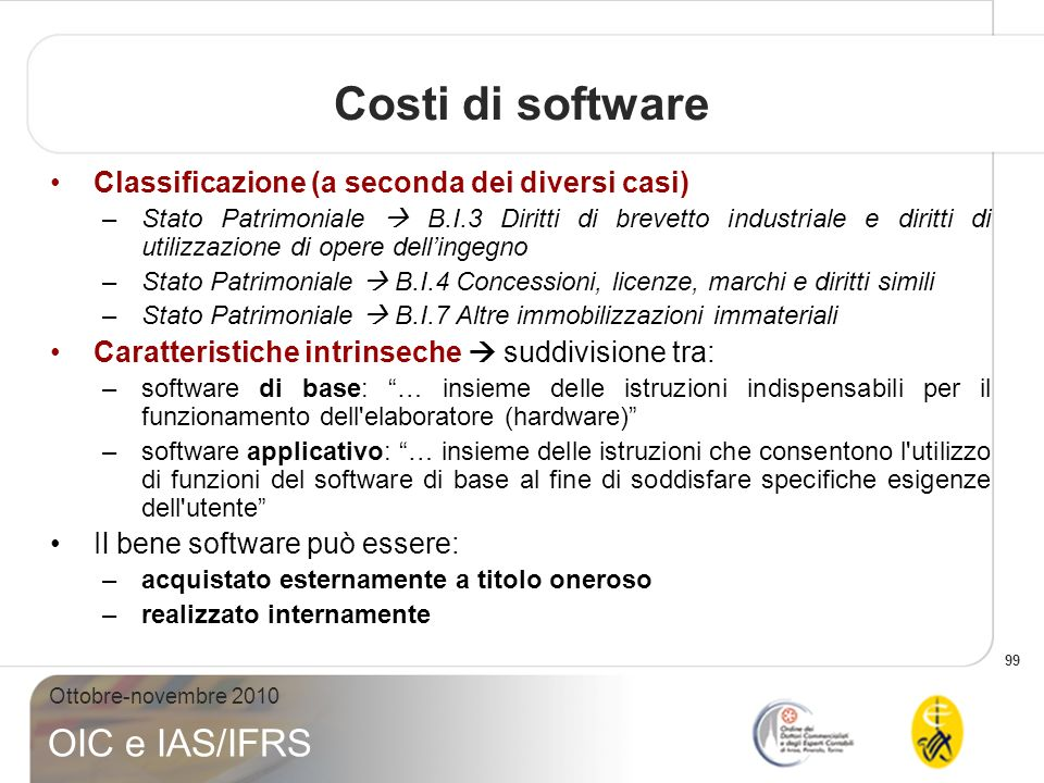 Costi di software Classificazione (a seconda dei diversi casi)