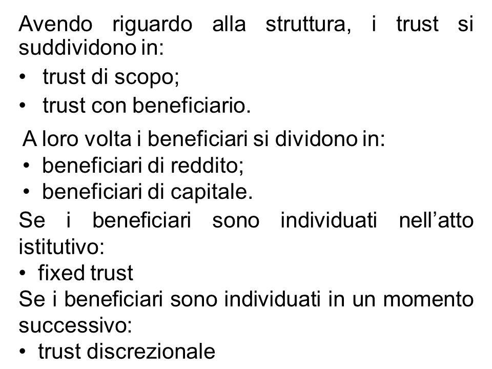 Avendo riguardo alla struttura, i trust si suddividono in: