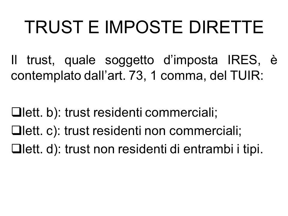 TRUST E IMPOSTE DIRETTE