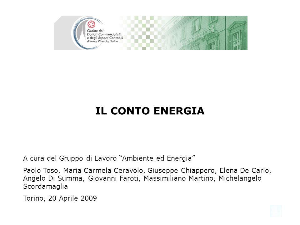 IL CONTO ENERGIA A cura del Gruppo di Lavoro Ambiente ed Energia