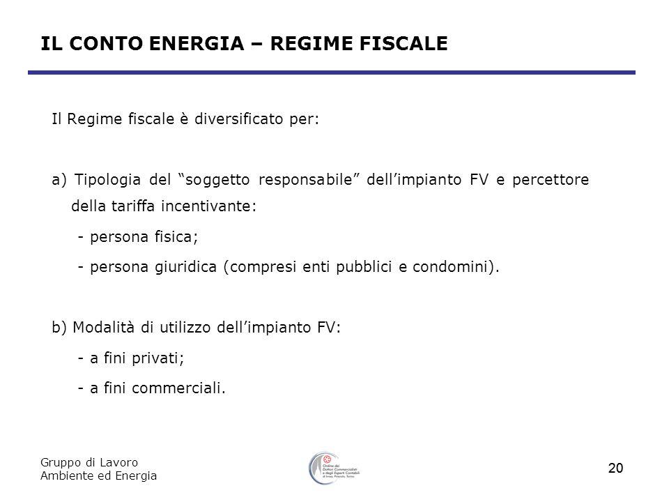 IL CONTO ENERGIA – REGIME FISCALE