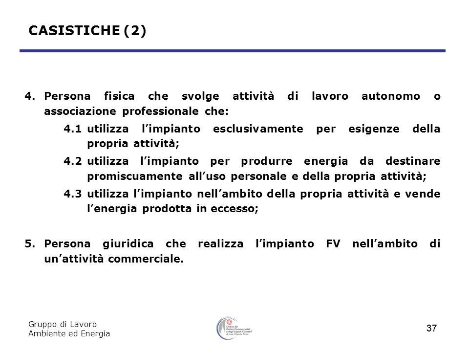 CASISTICHE (2) 4. Persona fisica che svolge attività di lavoro autonomo o associazione professionale che: