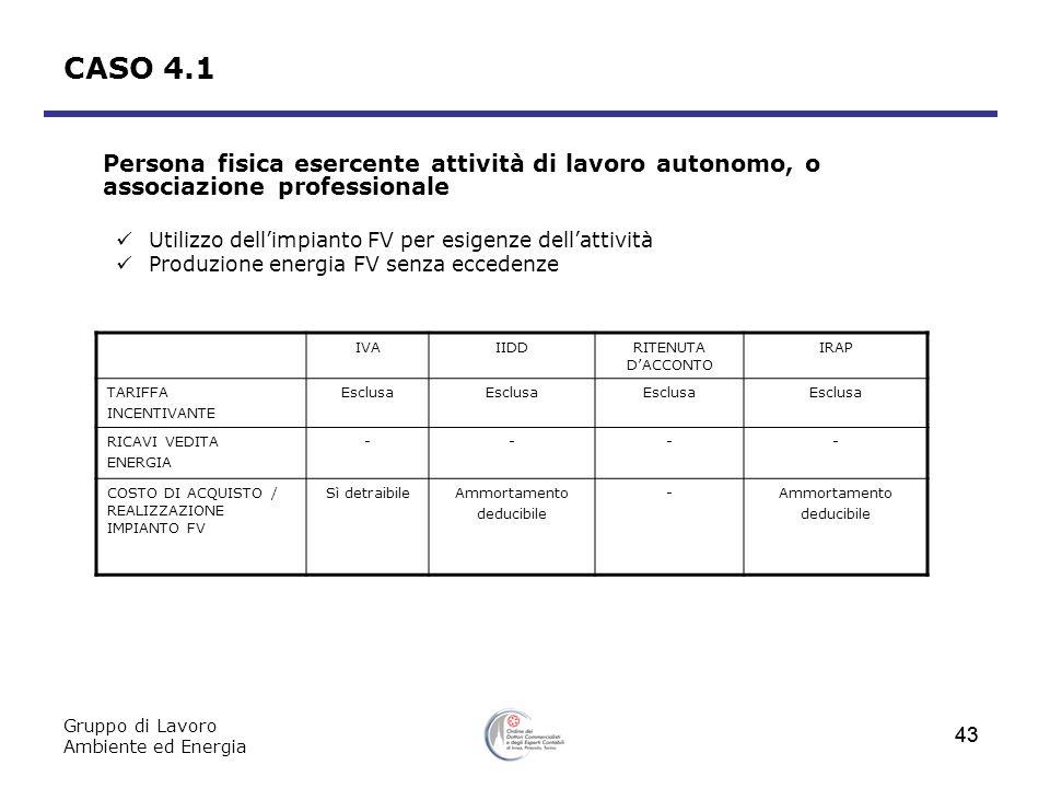 CASO 4.1 Persona fisica esercente attività di lavoro autonomo, o associazione professionale. Utilizzo dell'impianto FV per esigenze dell'attività.