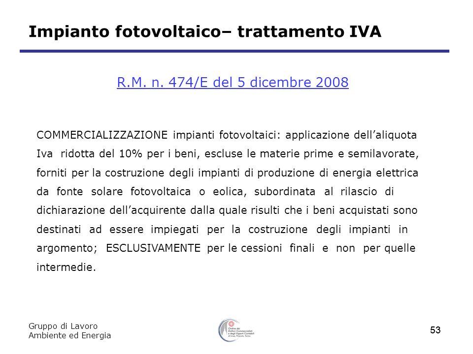 Impianto fotovoltaico– trattamento IVA
