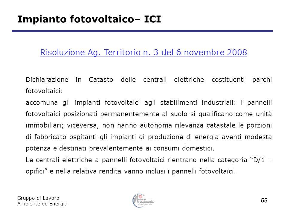 Risoluzione Ag. Territorio n. 3 del 6 novembre 2008