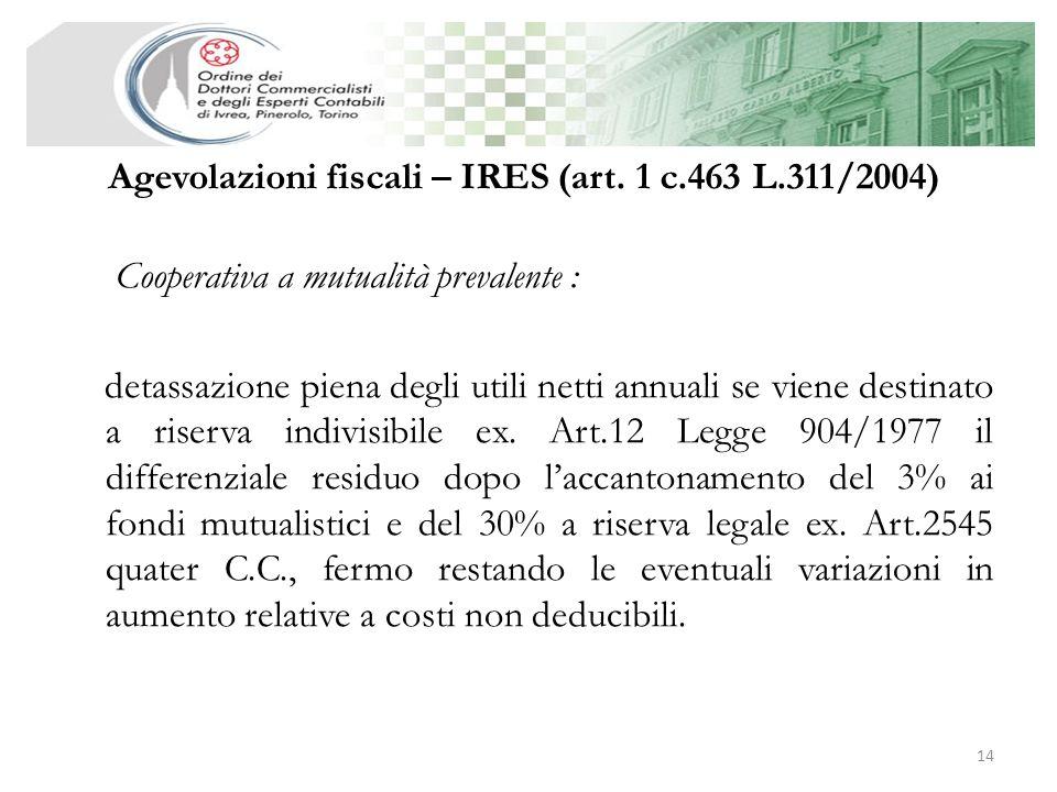 Agevolazioni fiscali – IRES (art. 1 c.463 L.311/2004)