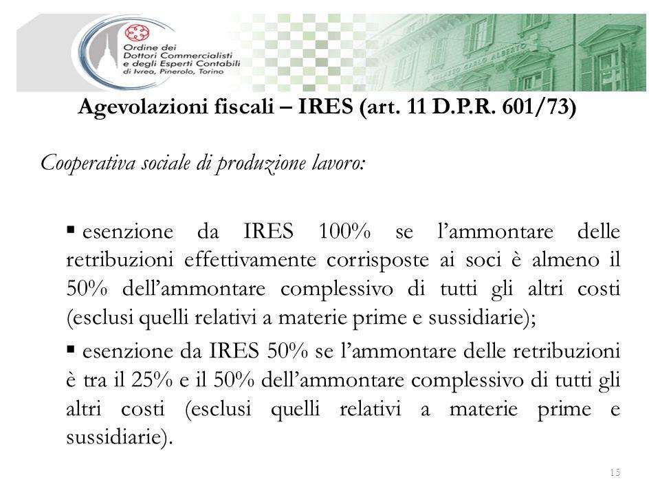 Agevolazioni fiscali – IRES (art. 11 D.P.R. 601/73)