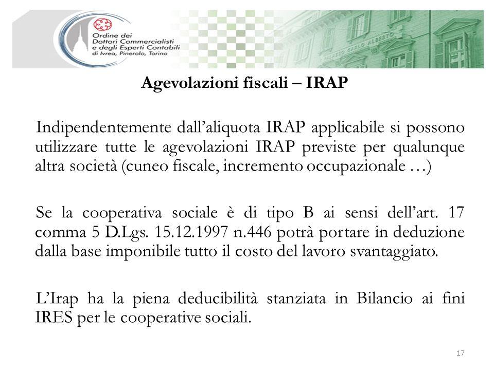 Agevolazioni fiscali – IRAP