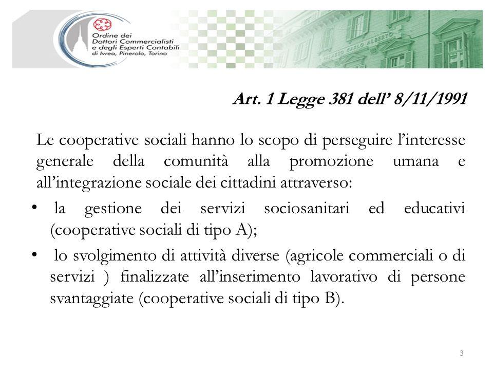 Art. 1 Legge 381 dell' 8/11/1991