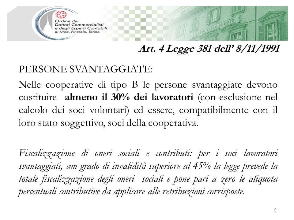 Art. 4 Legge 381 dell' 8/11/1991