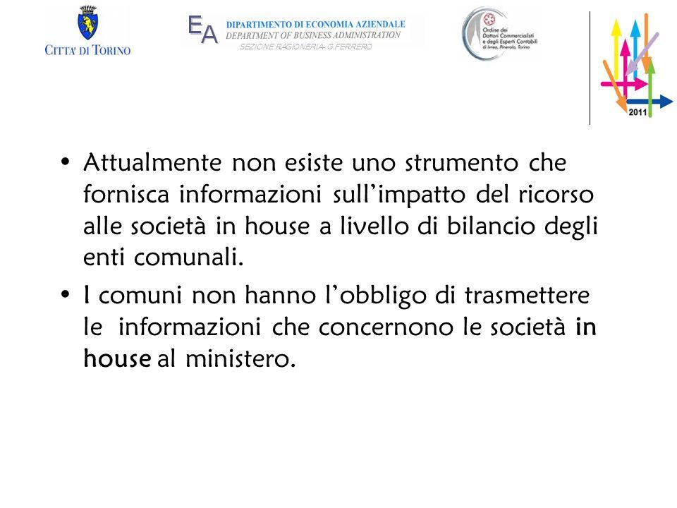 Attualmente non esiste uno strumento che fornisca informazioni sull'impatto del ricorso alle società in house a livello di bilancio degli enti comunali.