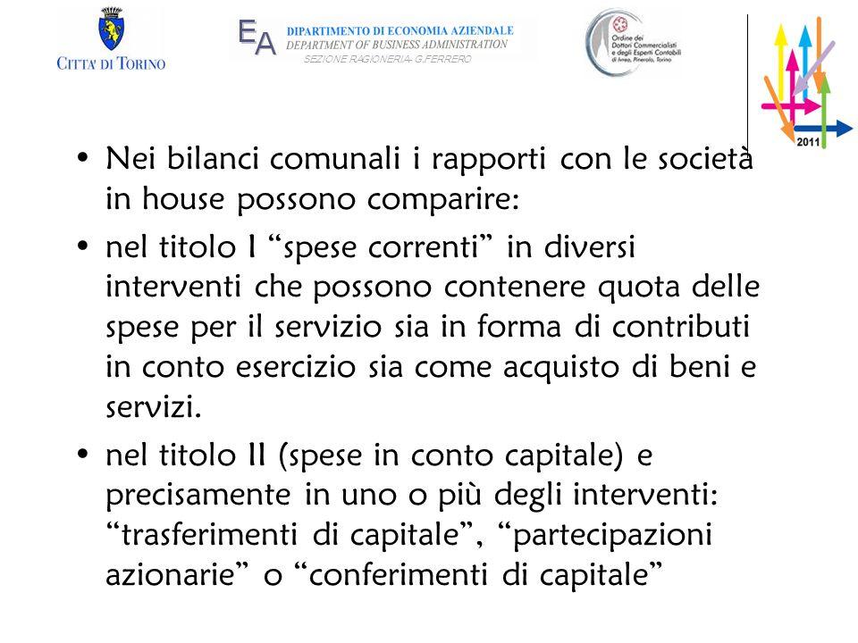 Nei bilanci comunali i rapporti con le società in house possono comparire: