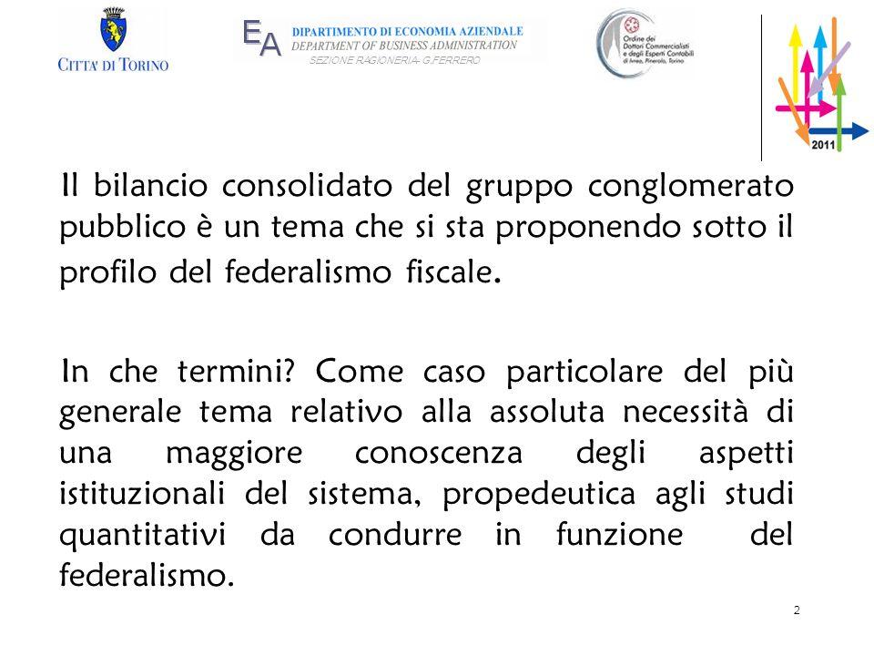 Il bilancio consolidato del gruppo conglomerato pubblico è un tema che si sta proponendo sotto il profilo del federalismo fiscale.