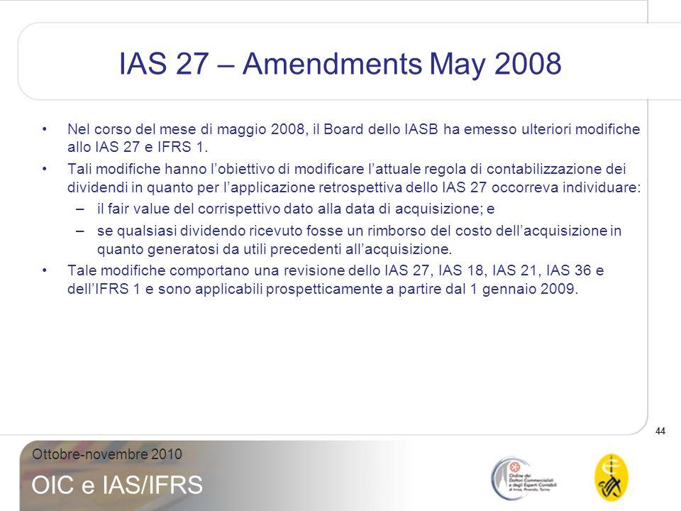IAS 27 – Amendments May 2008 Nel corso del mese di maggio 2008, il Board dello IASB ha emesso ulteriori modifiche allo IAS 27 e IFRS 1.