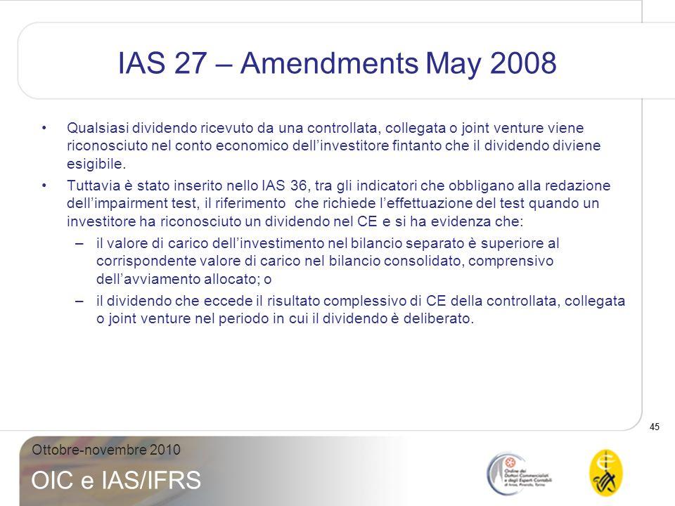 IAS 27 – Amendments May 2008