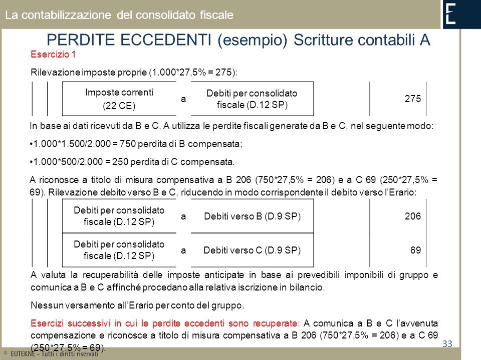 PERDITE ECCEDENTI (esempio) Scritture contabili A