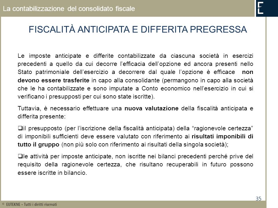 FISCALITÀ ANTICIPATA E DIFFERITA PREGRESSA