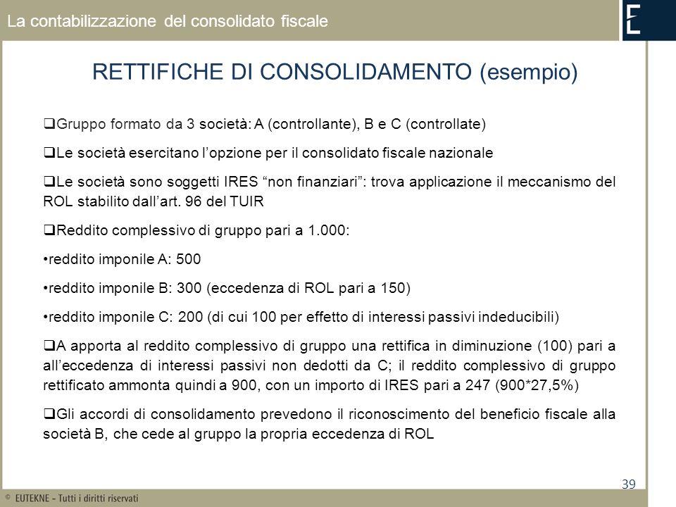 RETTIFICHE DI CONSOLIDAMENTO (esempio)