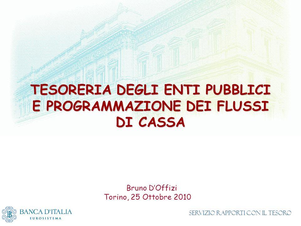 TESORERIA DEGLI ENTI PUBBLICI E PROGRAMMAZIONE DEI FLUSSI DI CASSA